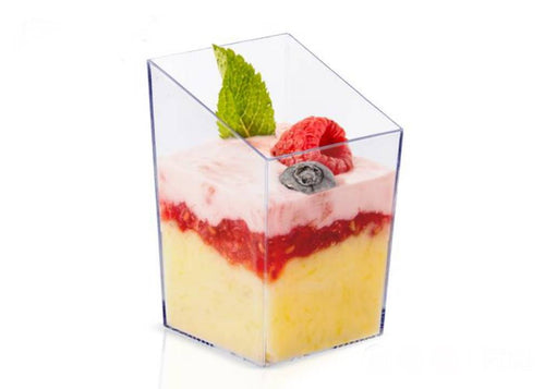 SQUARE BEVELLED CLEAR DESSERT/MOUSSE CUPS SET 25 PCS