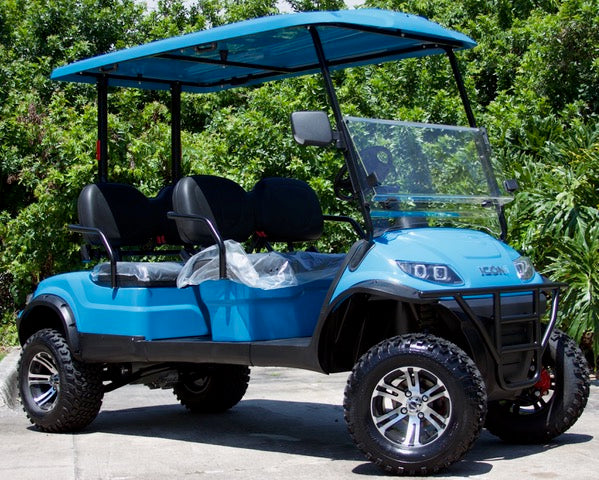 Limo For Sale >> 2019 Carribean Blue ICON i40FL - Forward Facing Lifted Cart – Bayside Custom Carts