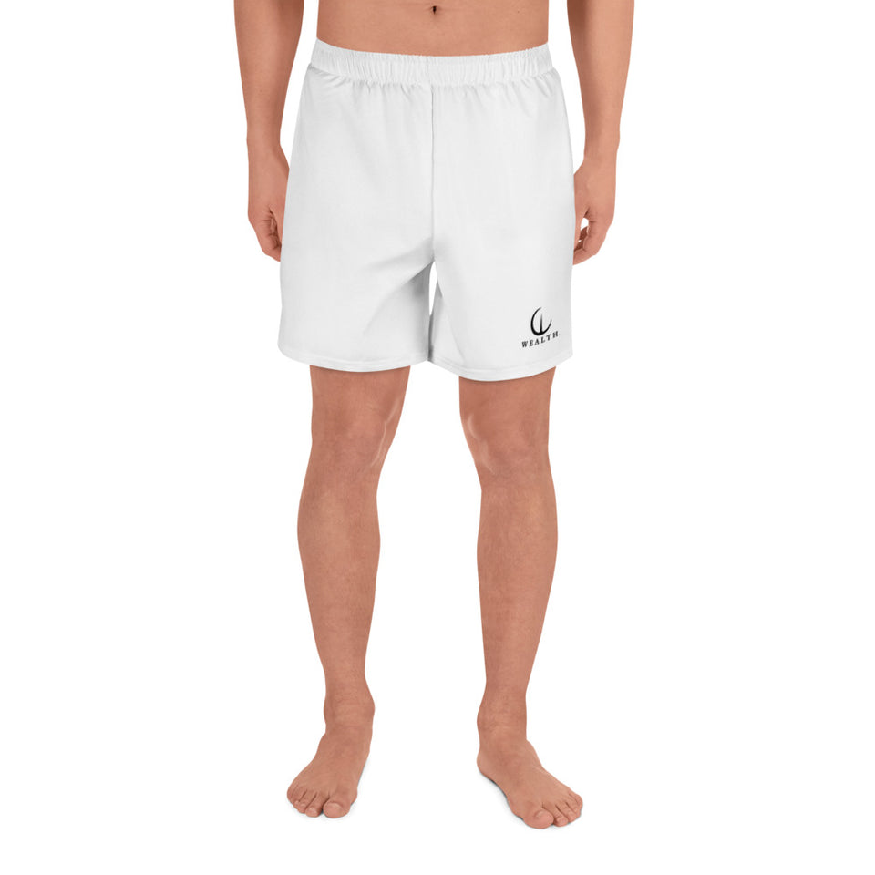 WEALTH white Men's Athletic Long Shorts