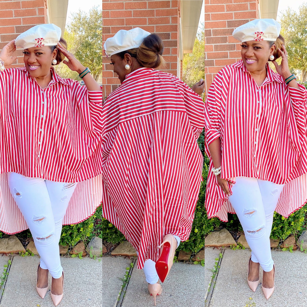 Red and white stripped high low top