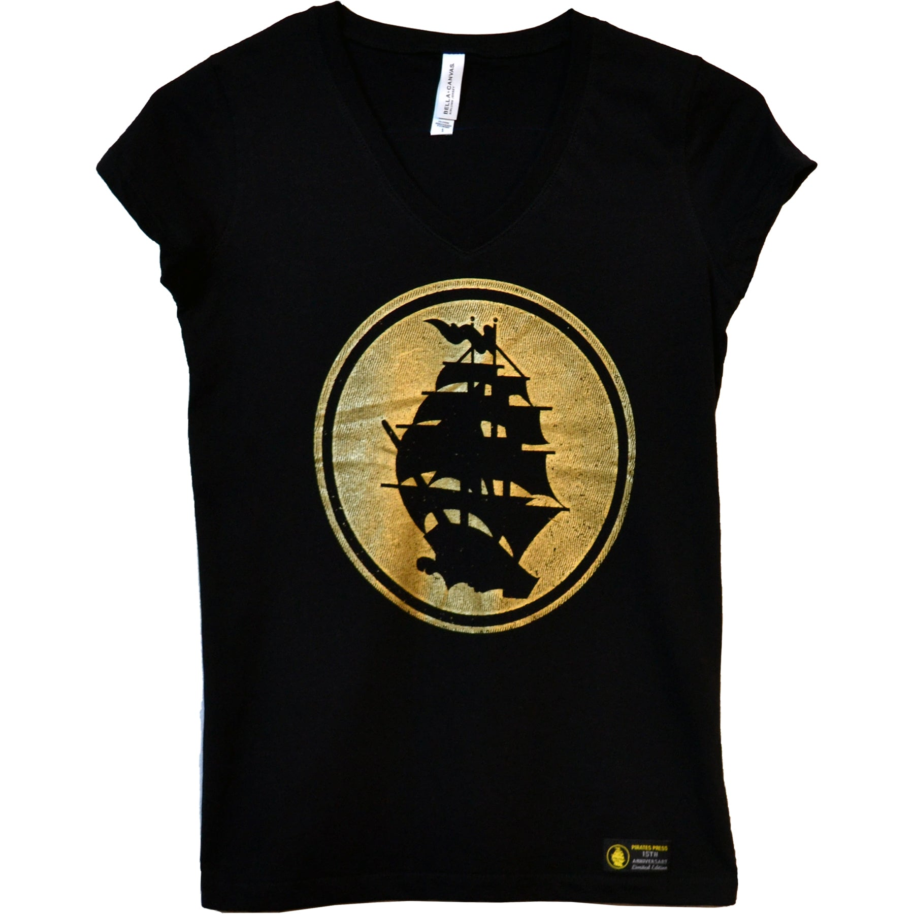 Pirates Press - Circle Logo - Gold on Black - 15 Year Tag - V-Neck T-Shirt - Fitted