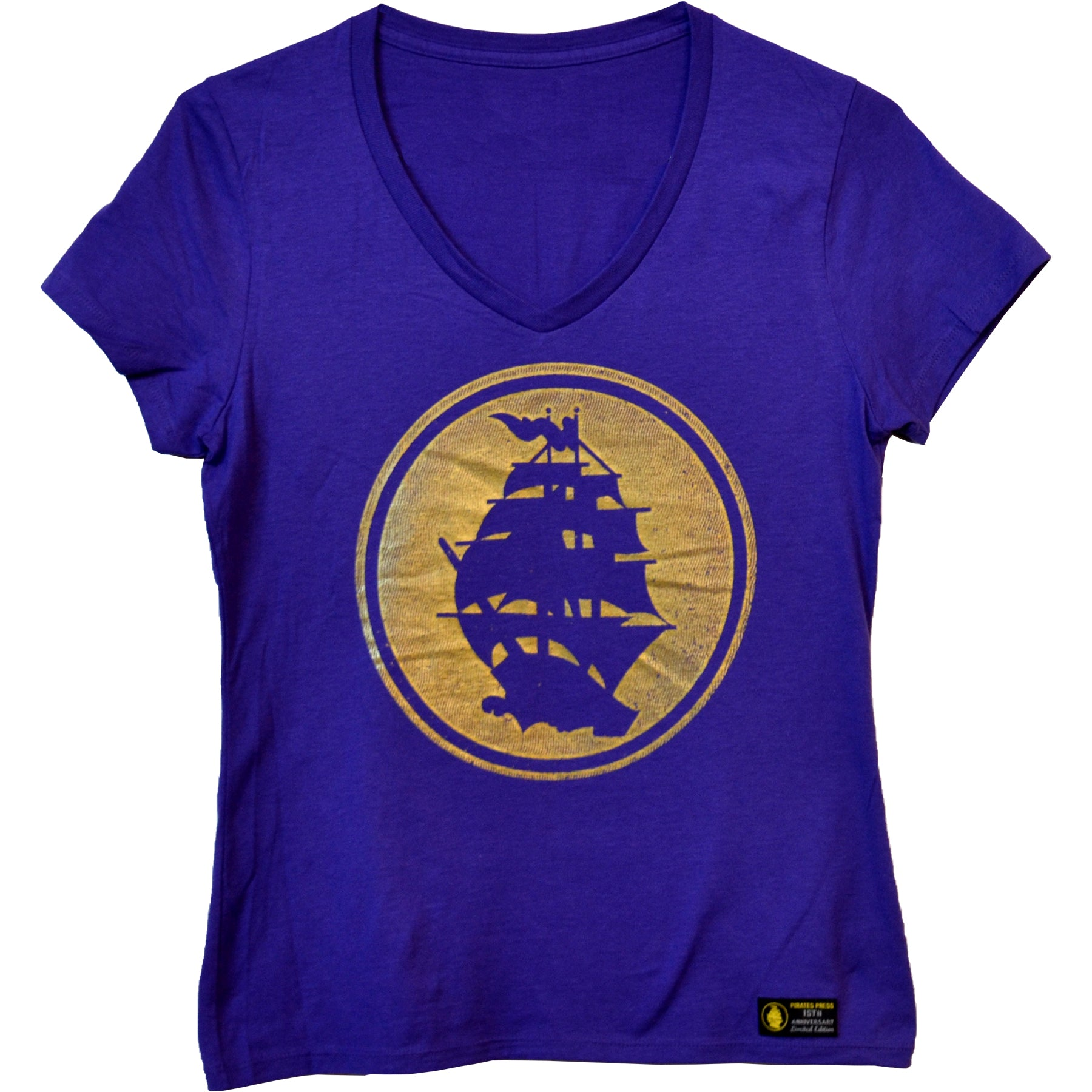 Pirates Press - Circle Logo - Gold on Purple - 15 Year Tag - V-Neck T-Shirt - Fitted