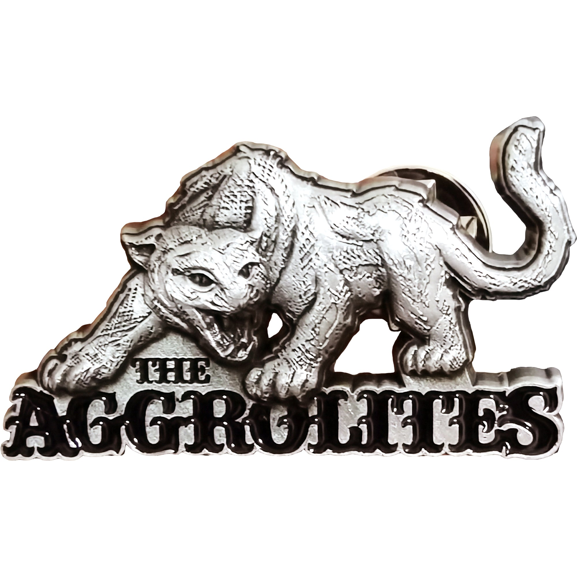 "The Aggrolites - Aggropanther - 1.5"" Enamel Pin - Silver w/ Black 3D"
