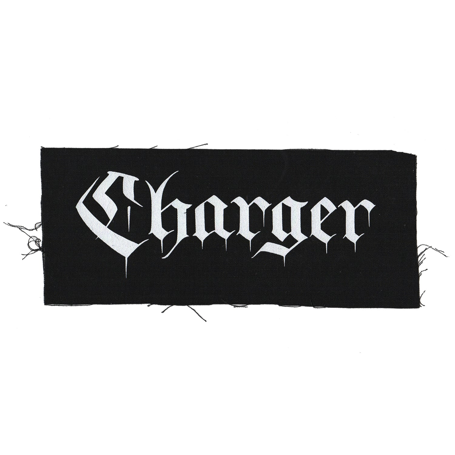 "Charger - Text Logo - Black - Patch - Cloth - Screenprinted - 12"" x 4"""
