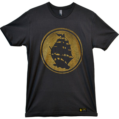 Pirates Press - Circle Logo - Gold on Charcoal Grey - 15 Year Tag - T-Shirt