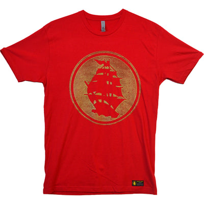Pirates Press - Circle Logo - Gold on Red - 15 Year Tag - T-Shirt