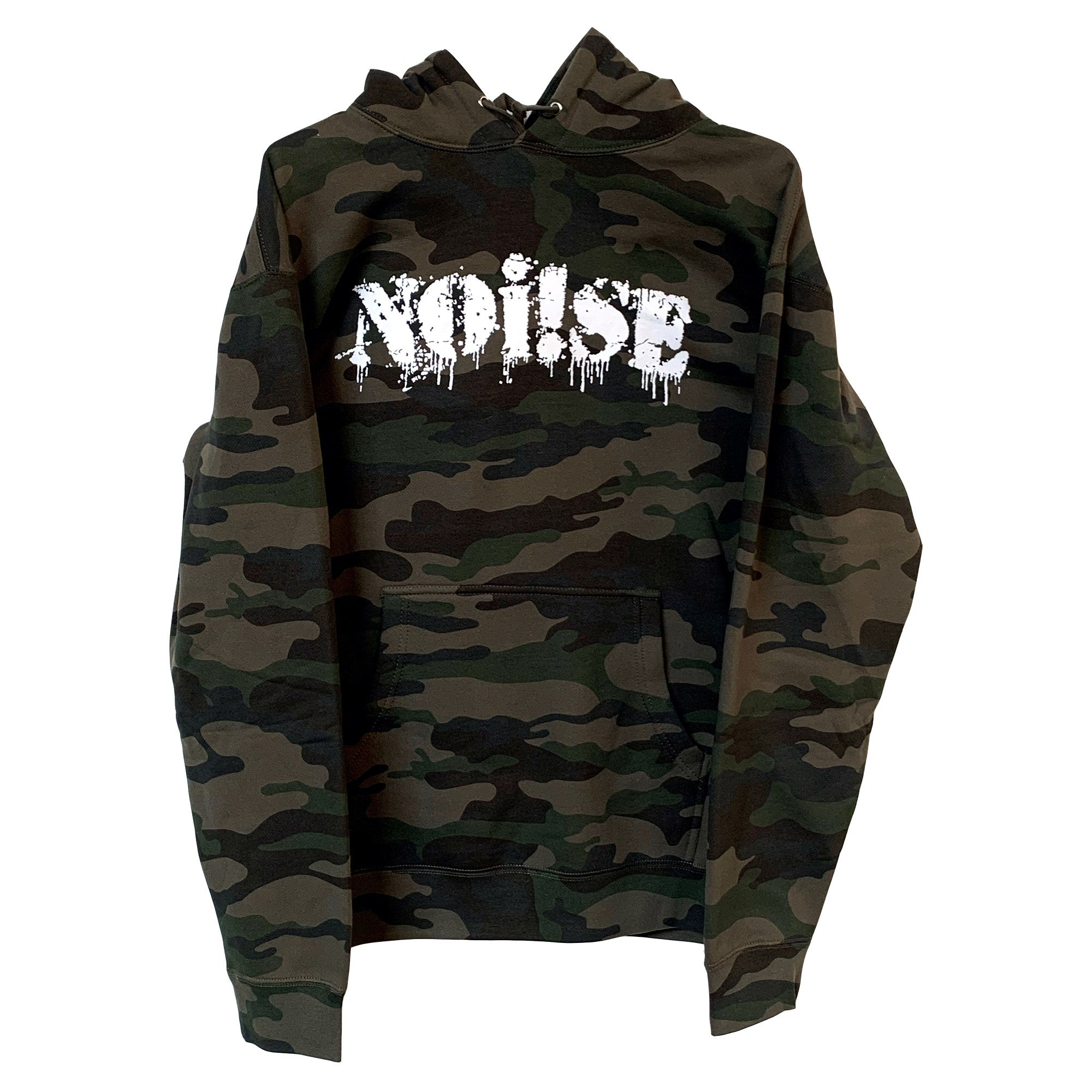 NOi!SE - Logo - White on Camo - Hooded Sweatshirt