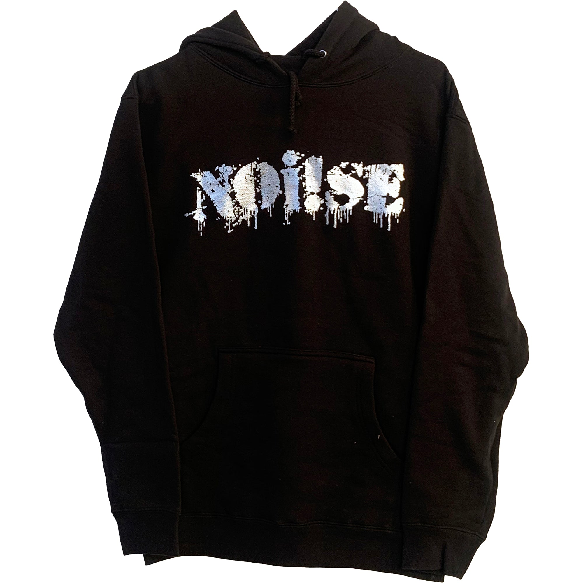 NOi!SE - Logo - Silver on Black - Hooded Sweatshirt