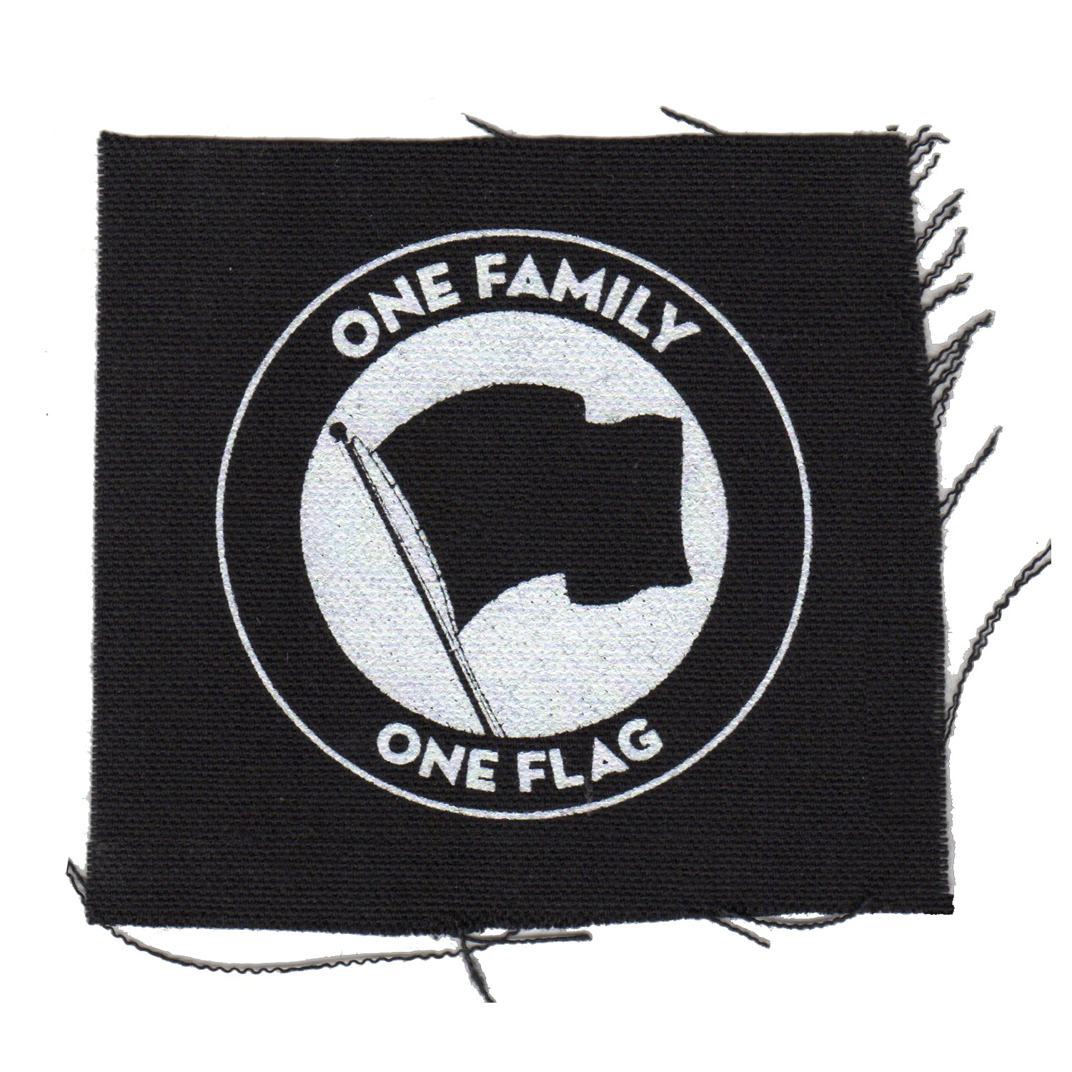 "One Family One Flag - Black - Patch - Cloth - Screenprinted - 4"" x 4"""