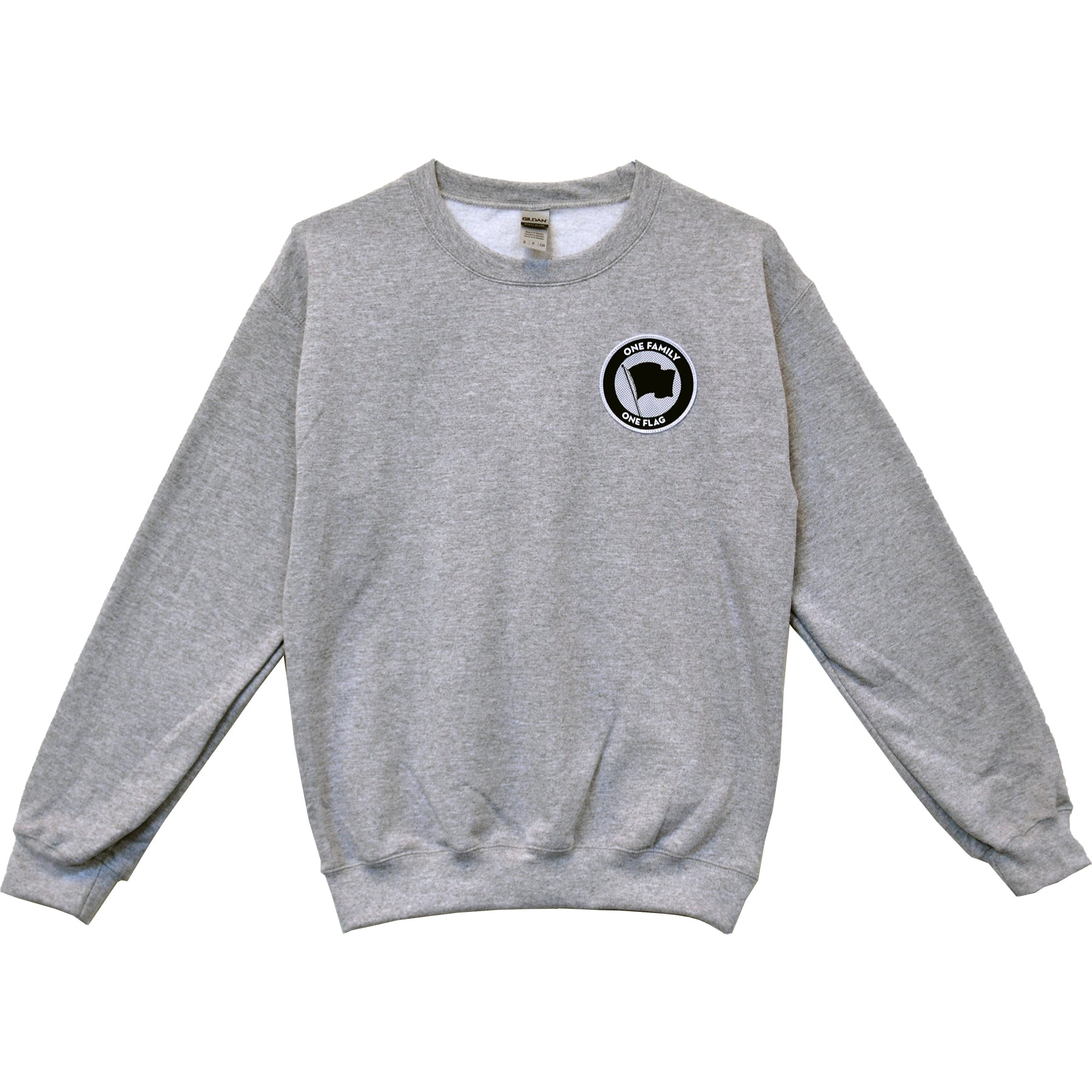 Pirates Press Records - One Family, One Flag - Patch - Grey - Crewneck Sweatshirt