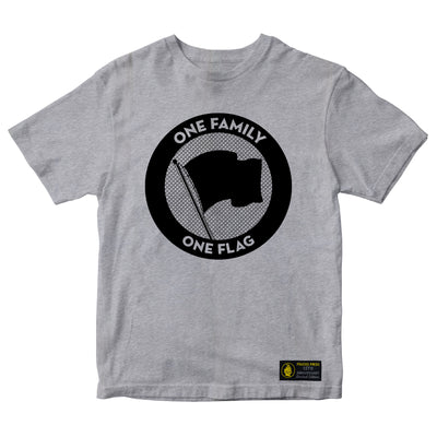 Pirates Press Records - One Family, One Flag - Black on Grey - 15 Year Tag - T-Shirt