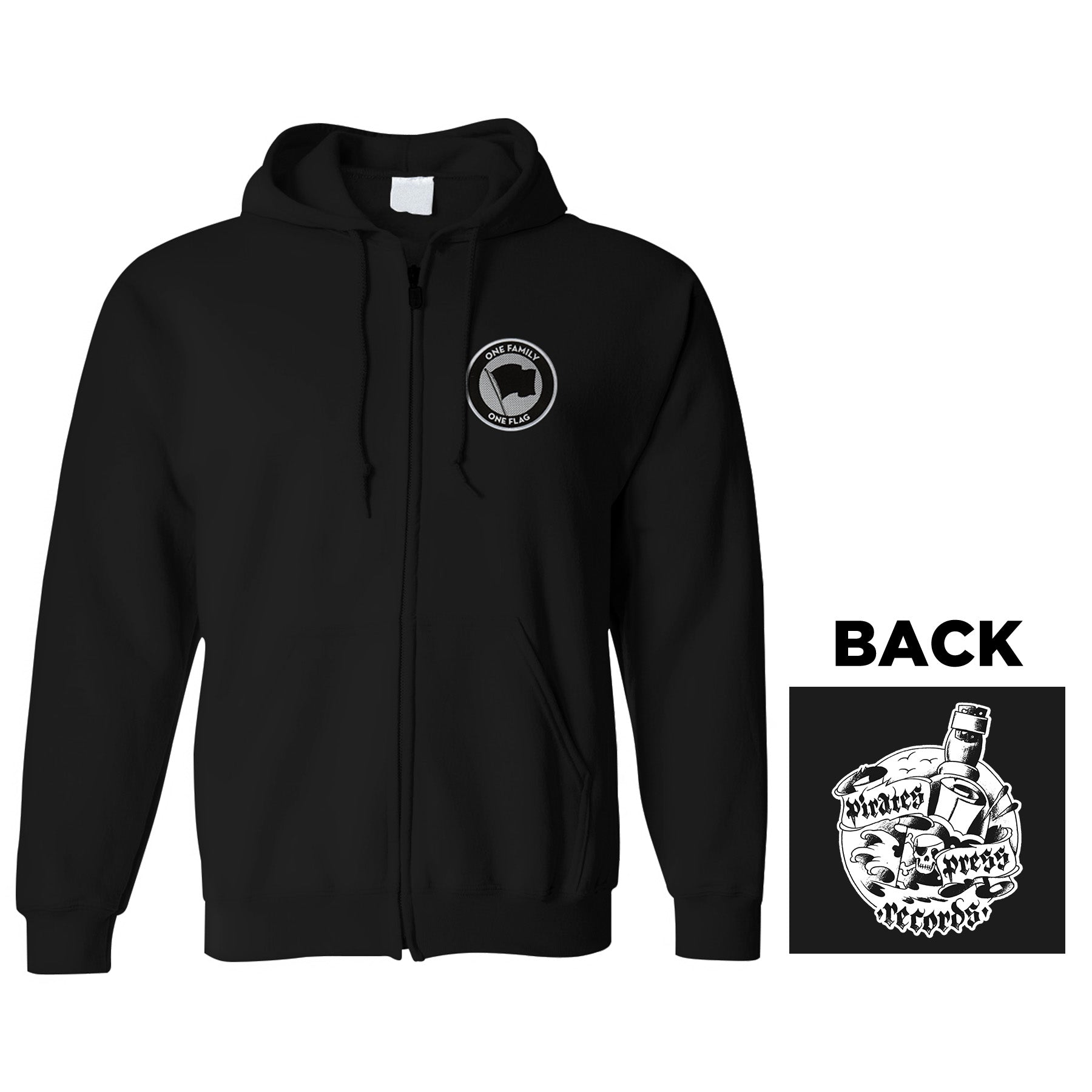 Pirates Press Records - Bottle - Patch - Black - Zip-Up Hoodie