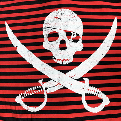 Pirates Press Records - Pirate Logo - White on Red & Black Striped  - 15 Year Tag - T-Shirt