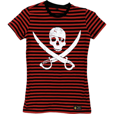 Pirates Press Records - Pirate Logo - White on Red & Black Striped  - 15 Year Tag - T-Shirt - Fitted
