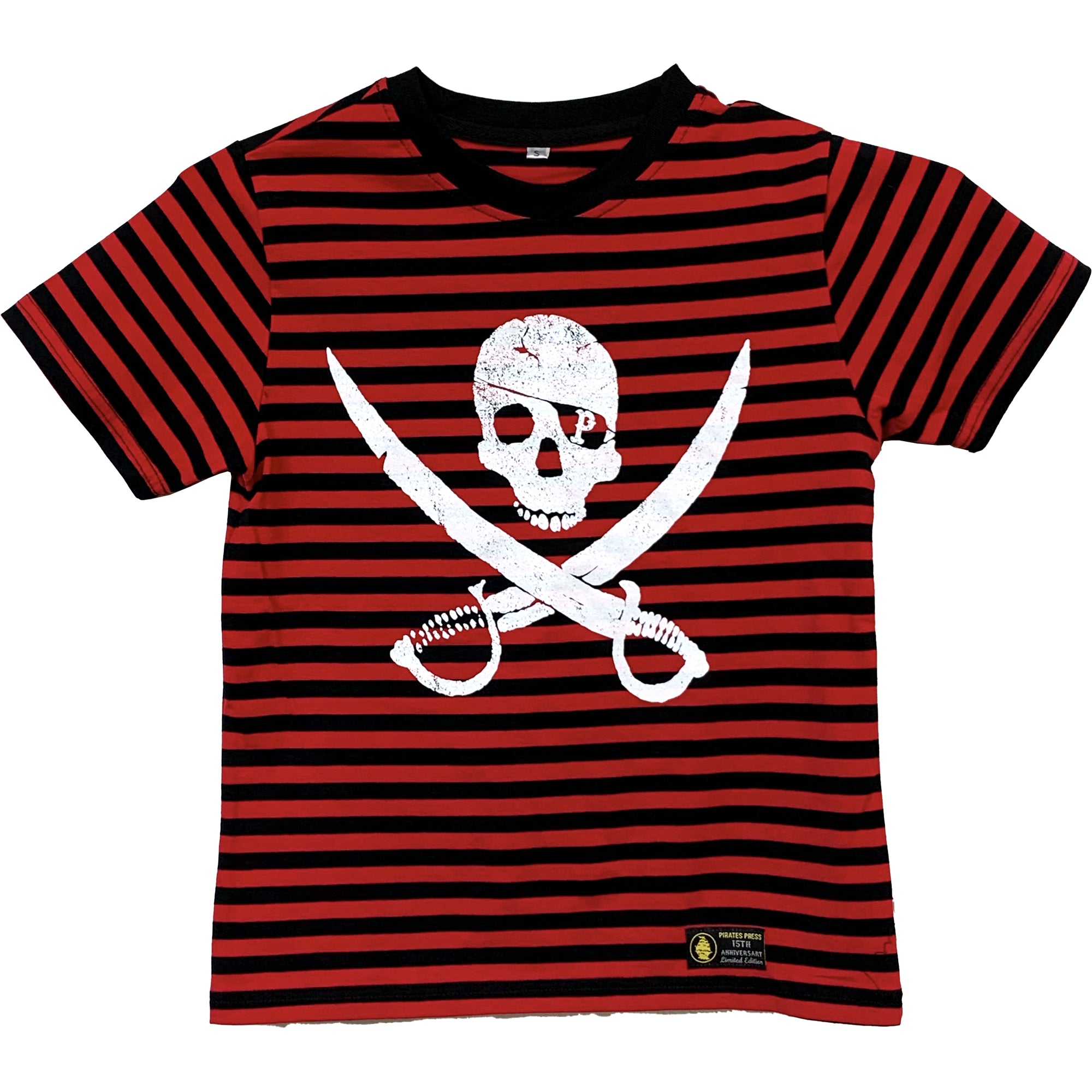 Pirates Press Records - Pirate Logo - White on Red & Black Striped  - 15 Year Tag - T-Shirt - Youth