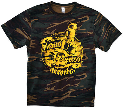 Pirates Press Records - Bottle - Yellow on Camo - T-Shirt
