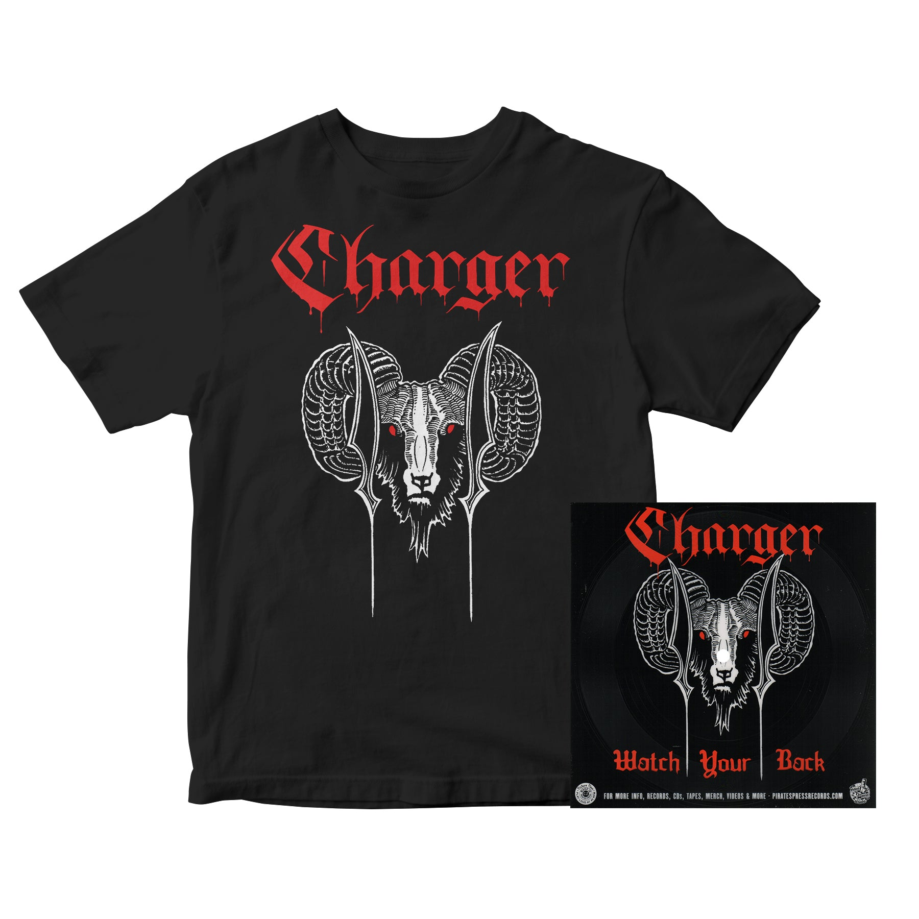 Charger - Ram with Red Text - Black - T-Shirt
