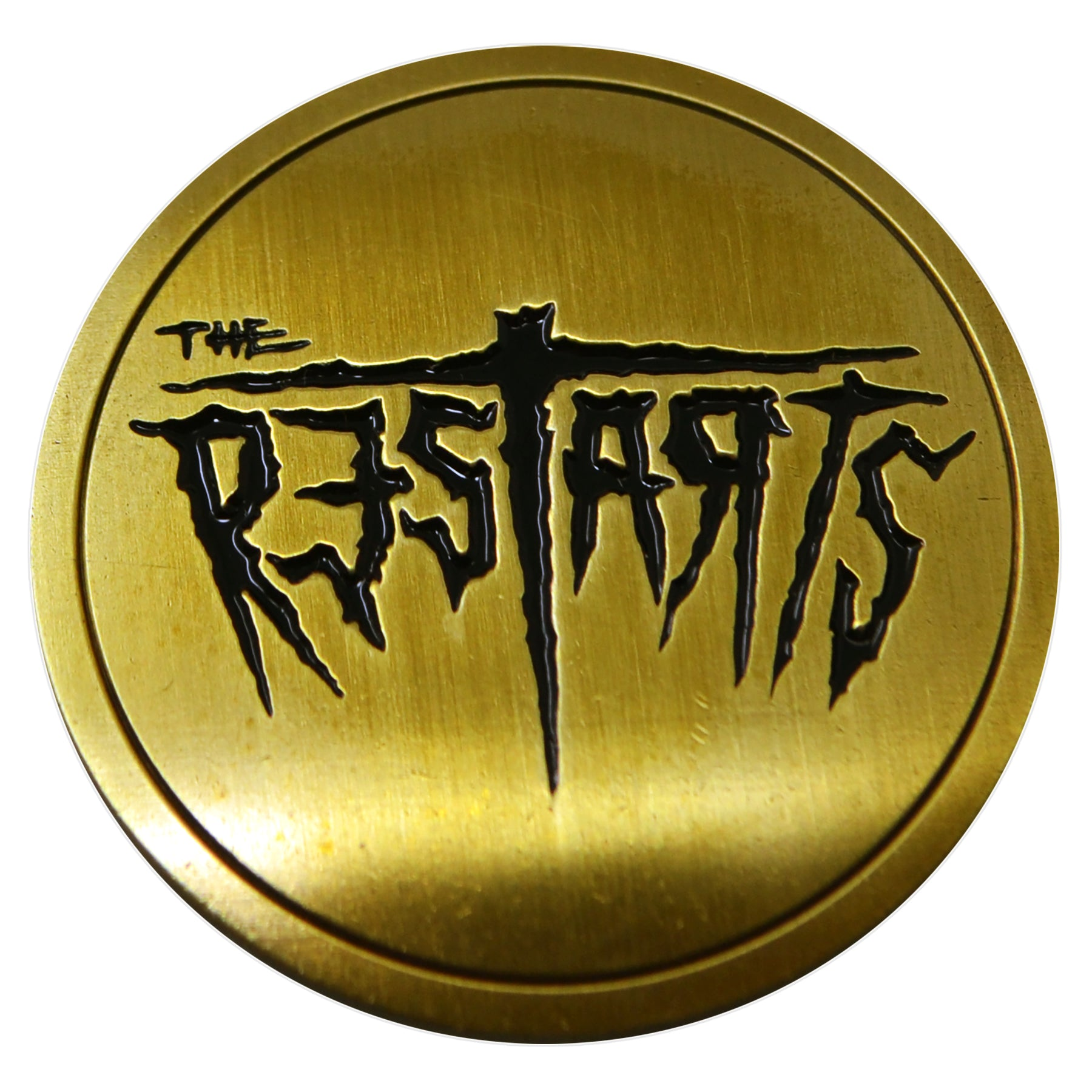 "The Restarts - Logo - Bronze on Black - 1.5"" Enamel Pin"
