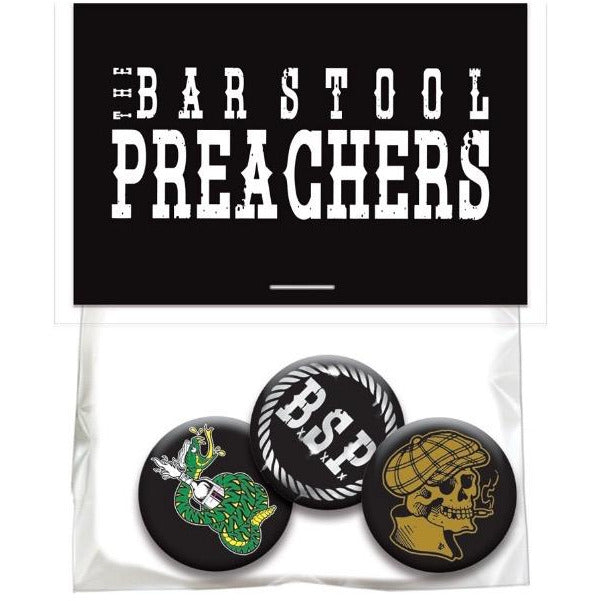 The Bar Stool Preachers - 3 Button Pack in Bag w/ Hang Card