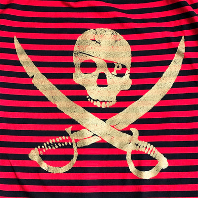Pirates Press Records - Pirate Logo - Gold on Red & Black Striped  - 15 Year Tag - T-Shirt