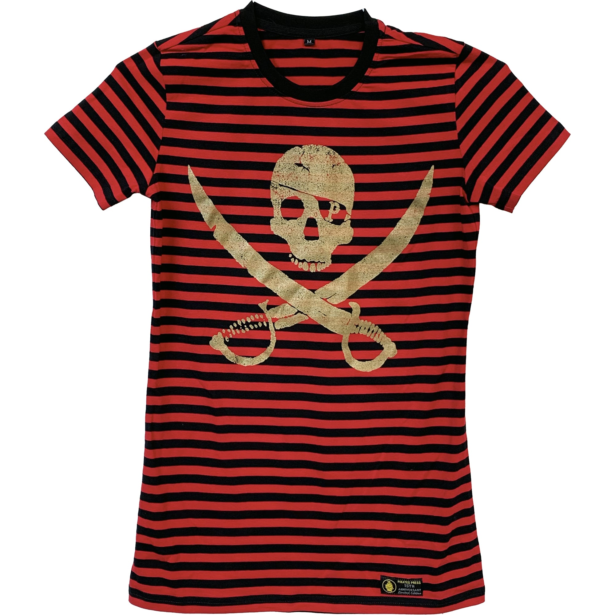 Pirates Press Records - Pirate Logo - Gold on Red & Black Striped  - 15 Year Tag - T-Shirt - Fitted