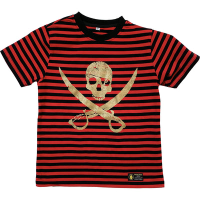 Pirates Press Records - Pirate Logo - Gold on Red & Black Striped  - 15 Year Tag - T-Shirt - Youth