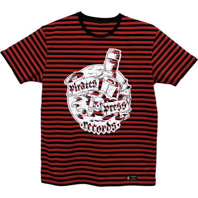 Pirates Press Records - Bottle - White on Red & Black Striped  - 15 Year Tag - T-Shirt