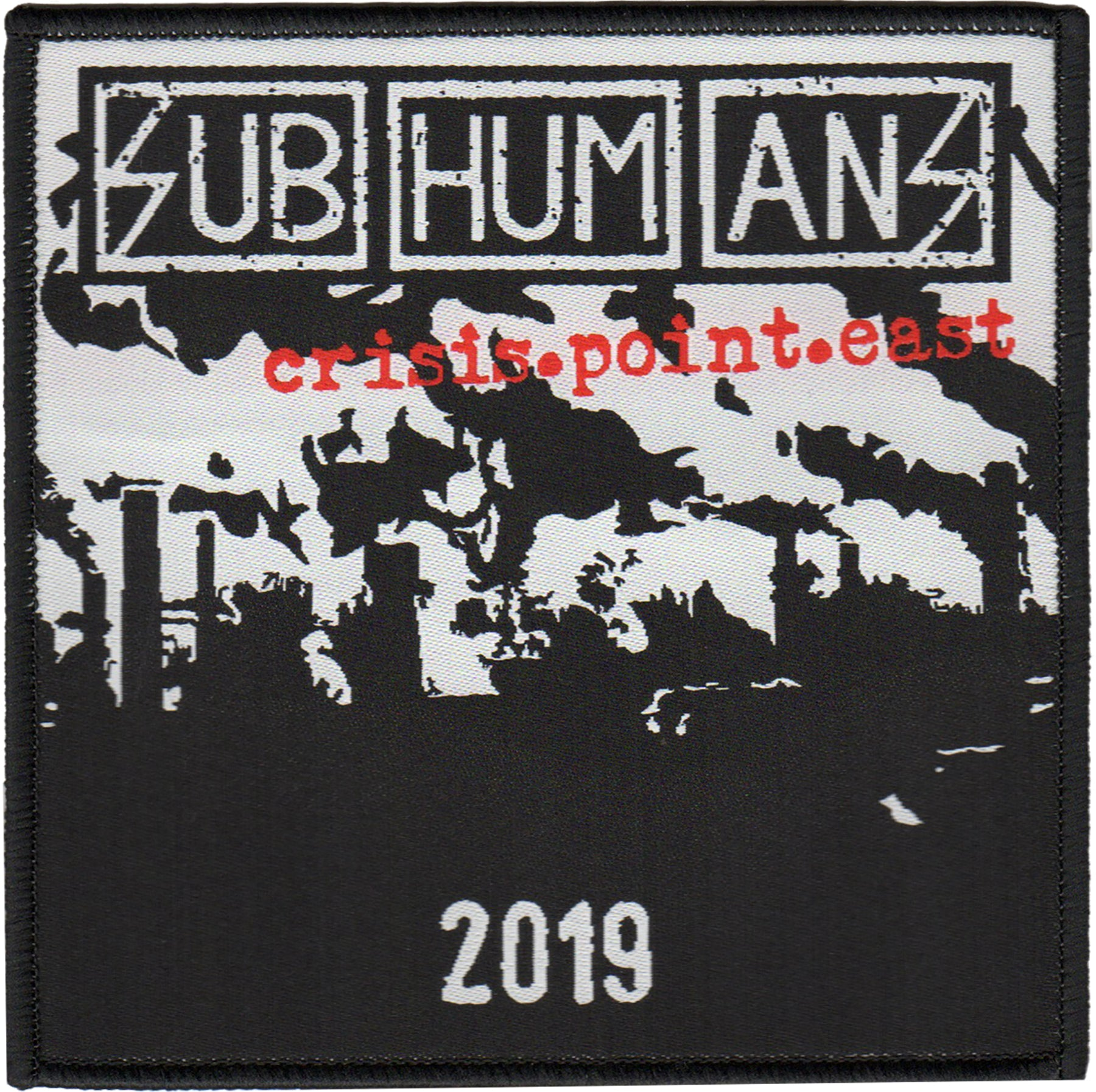 "Subhumans - Crisis Point - Tour - East - Woven Patch - 4""x4"""