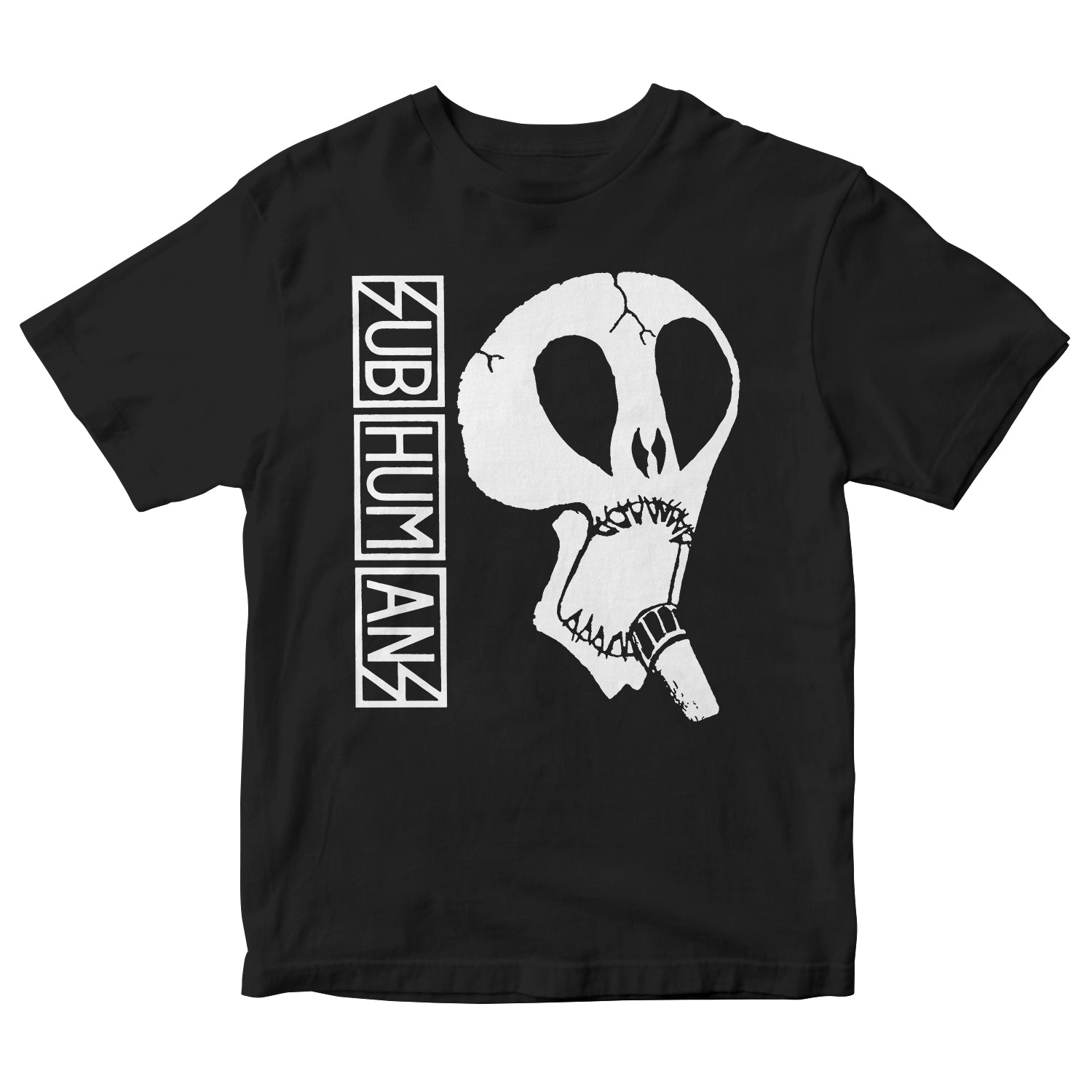 Subhumans - Large Skull & Vertical Logo - Black - T-shirt