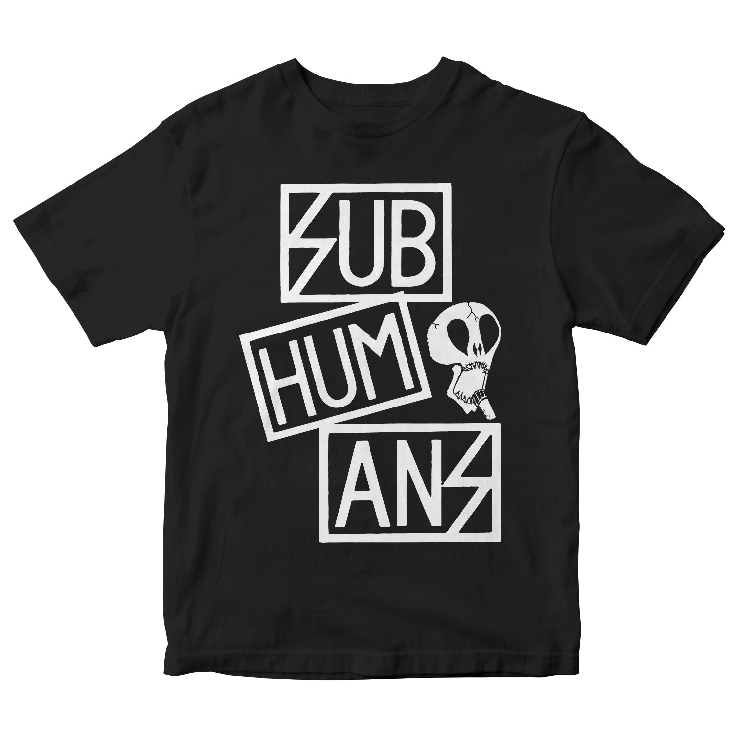 Subhumans - Small Skull & Three Part Logo - Black - T-shirt