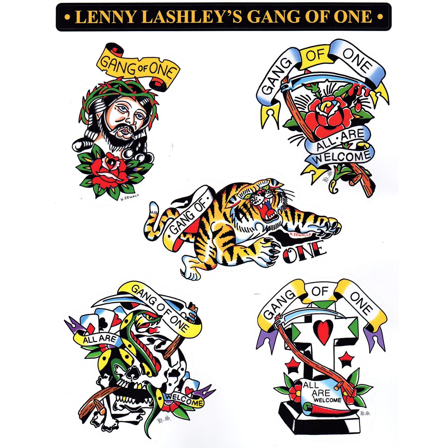 "Lenny Lashley's Gang Of One - ""All Are Welcome"" Tattoo Sheet"