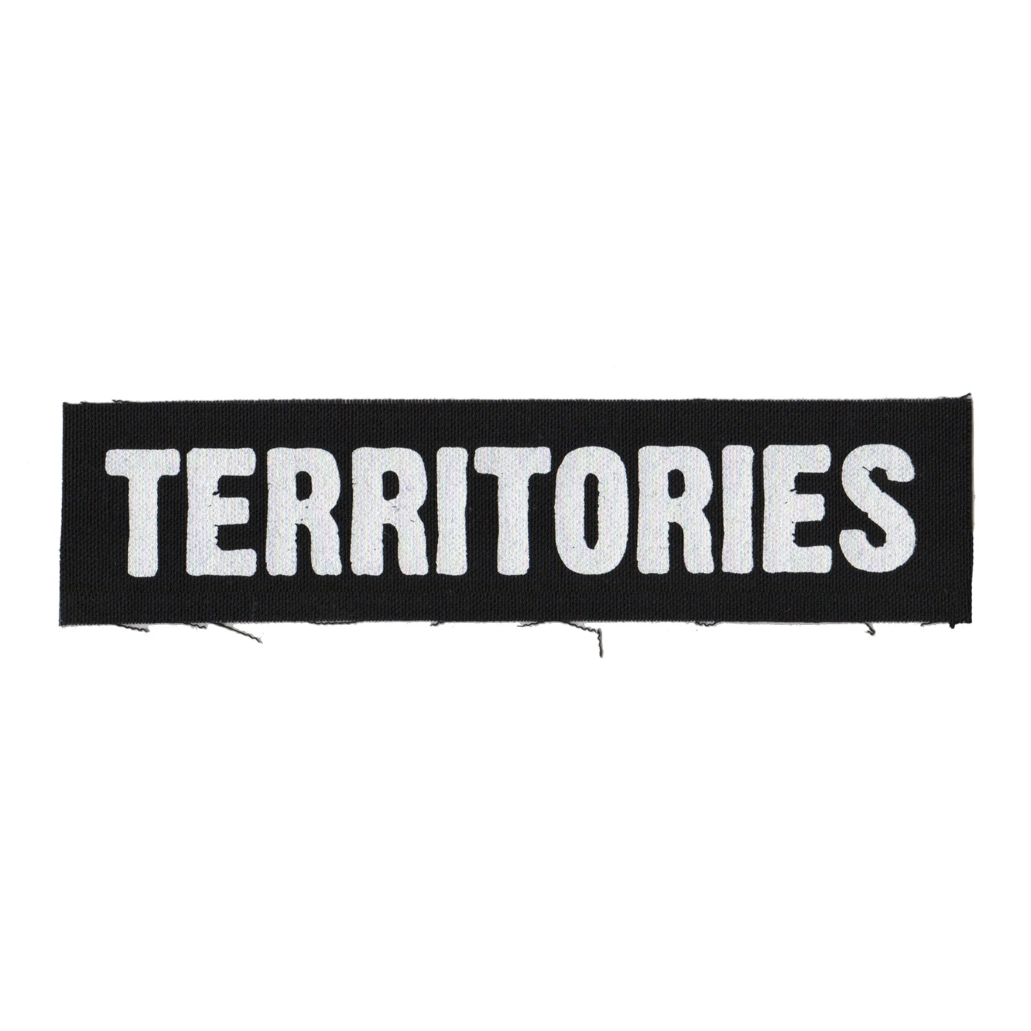 "Territories - Text Logo - Black - Patch - Cloth - Screenprinted - 8"" x 3"""