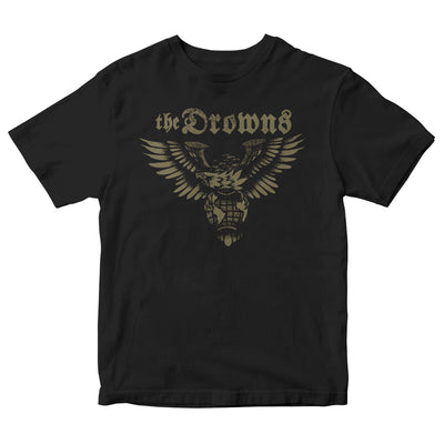 The Drowns - Eagle Logo - White on Black - T-Shirt