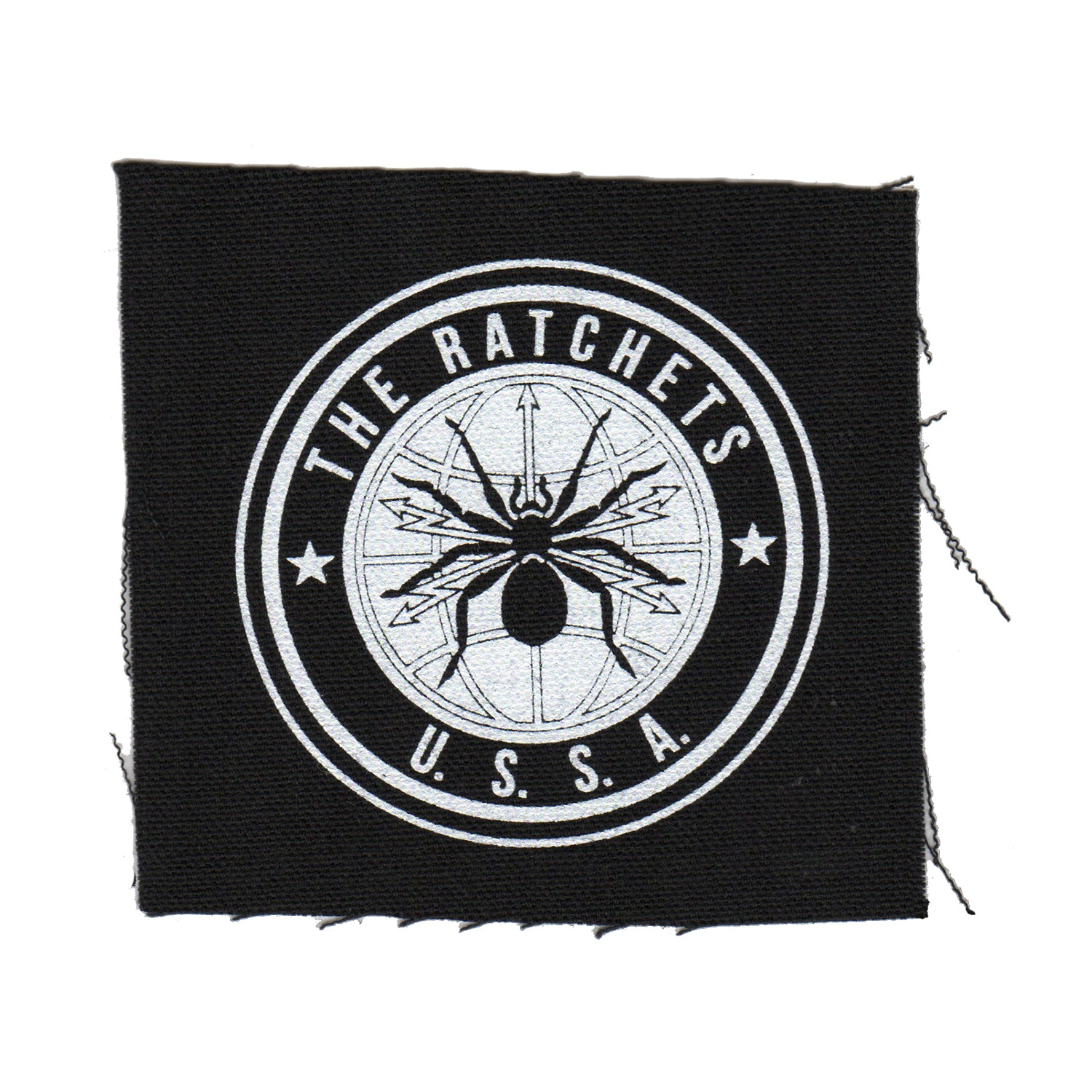 "The Ratchets - Spider - Black - Patch - Cloth - Screenprinted - 4"" x 4"""