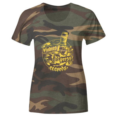 Pirates Press Records - Bottle - Yellow on Camo - T-Shirt - Fitted