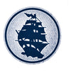 Pirates Press - Circle Logo - Blue On White - Screenprinted Poster