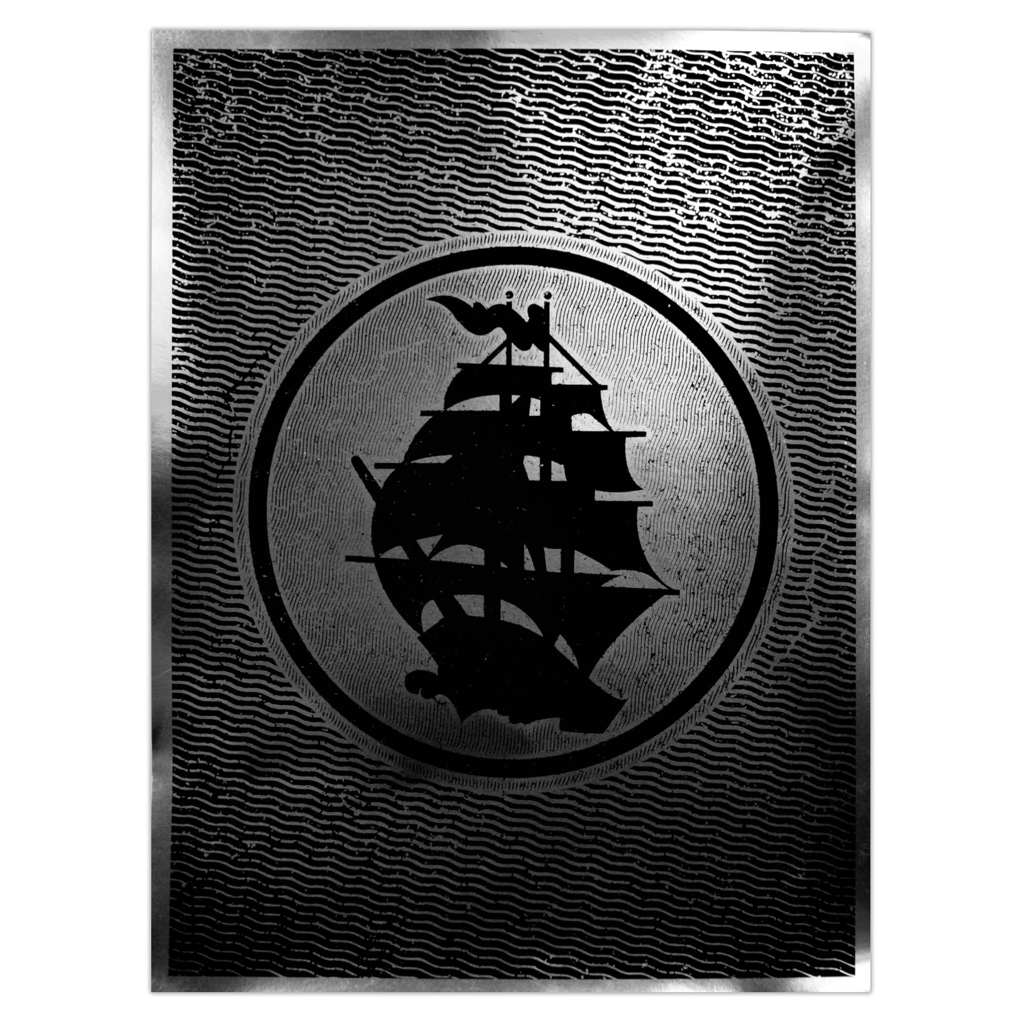 Pirates Press - Circle Logo - Silver Foil - Screenprinted Poster