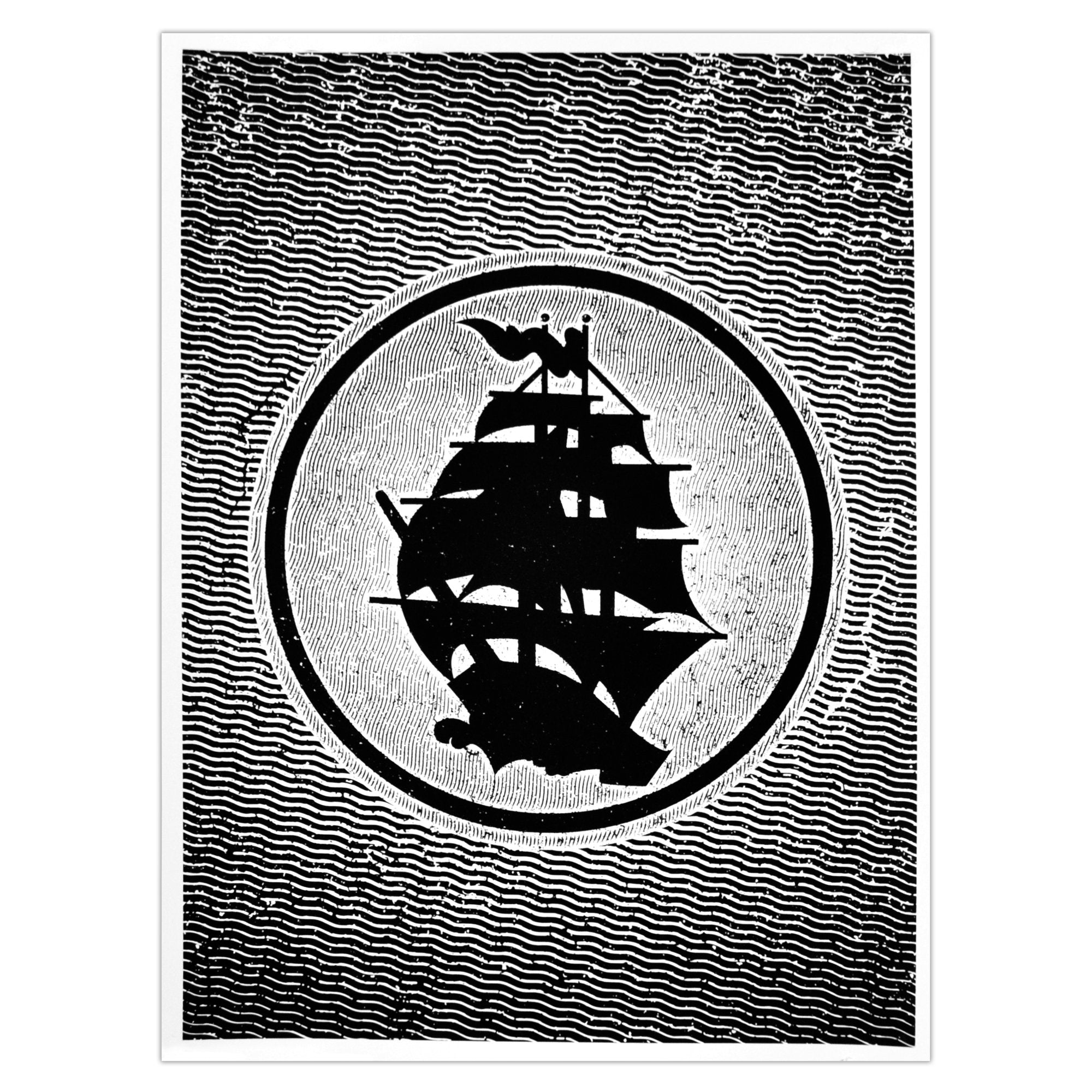 Pirates Press - Circle Logo - White (Glow In The Dark) - Screenprinted Poster