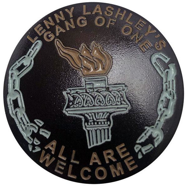 "Lenny Lashley Gang of One - All Are Welcome - Torch - 1.25"" Enamel Pin"