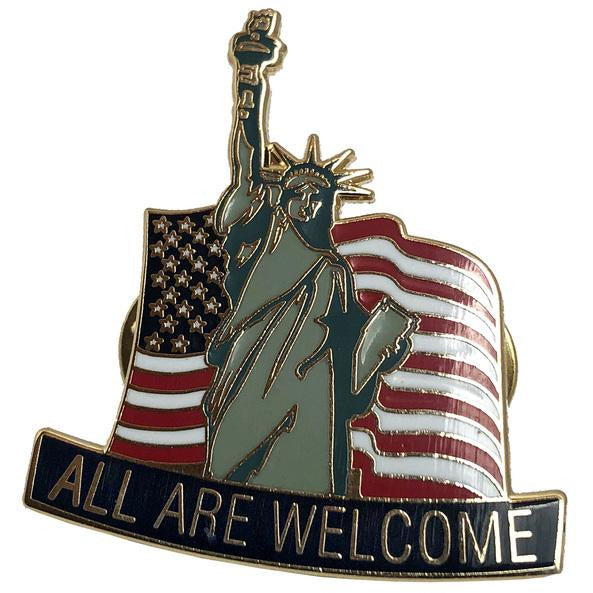 "Lenny Lashley Gang of One - All Are Welcome - Statue - 1.5"" Enamel Pin"