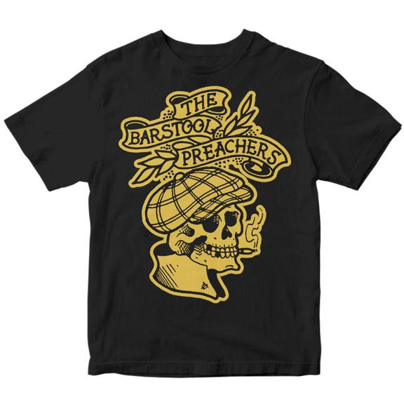 The Bar Stool Preachers - Gold Skull on Black - T-Shirt