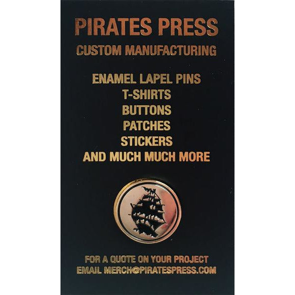 "Pirates Press - Circle Logo - .75"" Gold Enamel Pin w/ Backing"