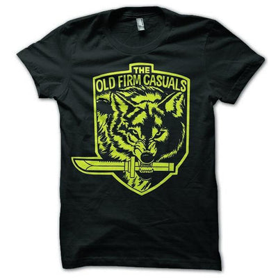 The Old Firm Casuals - Wolf Knife - Yellow on Black - T-Shirt
