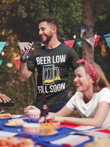 Man wearing Beer Low, Fill Soon T-Shirt