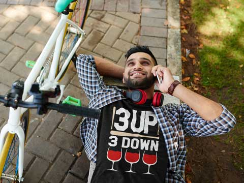 Man wearing 3 Up, 3 Down T-Shirt