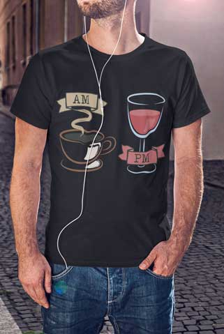Man wearing A.M. Coffee / P.M. Wine T-Shirt