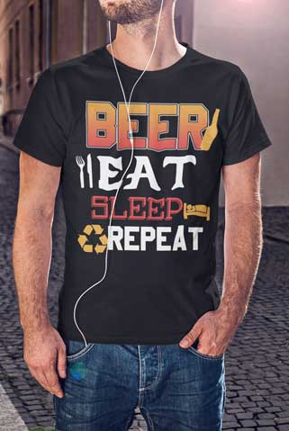Man wearing Beer, Eat, Sleep, Repeat T-Shirt
