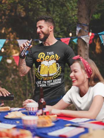 Man wearing This Beer Tastes Like I'm Not Going To Work Tomorrow T-Shirt