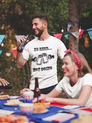 Man wearing  No Beer, Not Going T-Shirt