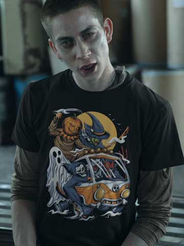 Man wearing Halloween Horror Villain Squad T-Shirt